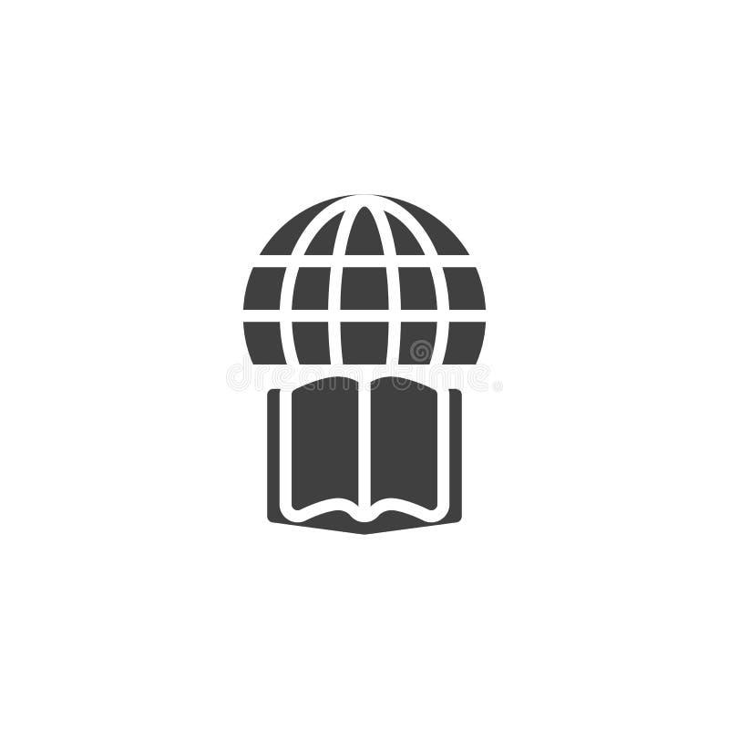 Ícone do vetor do globo e do livro ilustração royalty free