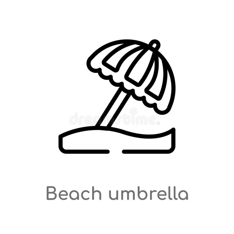 ?cone do vetor do guarda-chuva de praia do esbo?o linha simples preta isolada ilustra??o do elemento do conceito da acomoda??o Ve ilustração do vetor