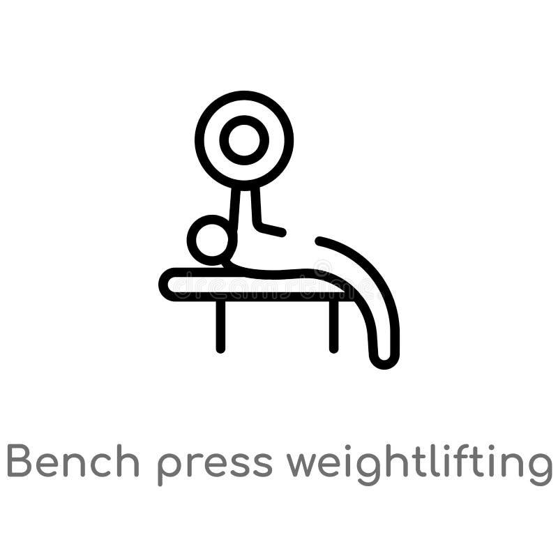 ícone do vetor do halterofilismo da imprensa de banco do esboço linha simples preta isolada ilustração do elemento do gym e do co ilustração stock