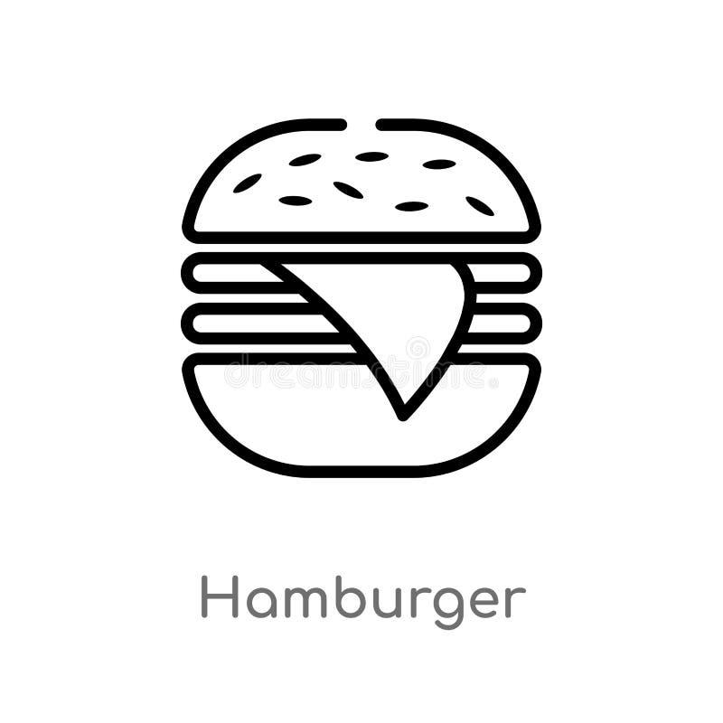 ícone do vetor do Hamburger do esboço linha simples preta isolada ilustração do elemento do conceito do futebol americano Vetor e ilustração stock