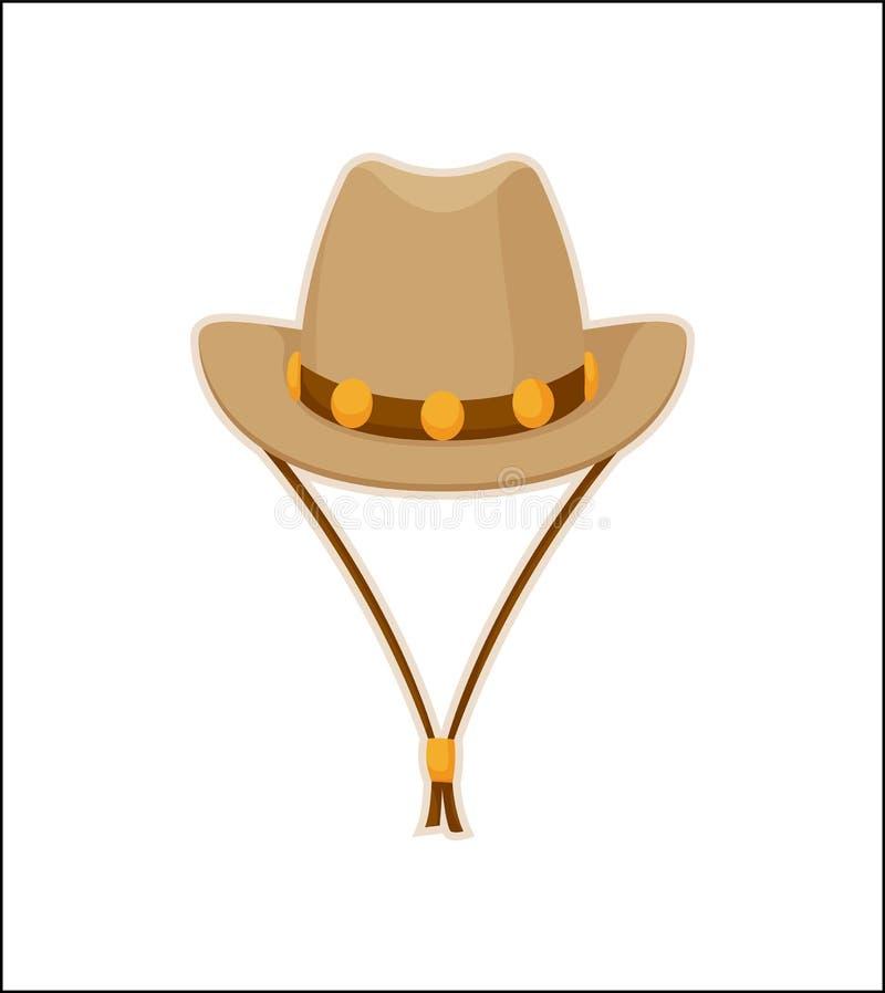 Ícone do vetor do Headwear de Hat American Style do vaqueiro ilustração do vetor