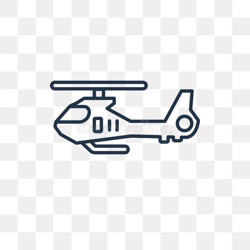 Ícone do vetor do helicóptero isolado no fundo transparente, linea ilustração royalty free
