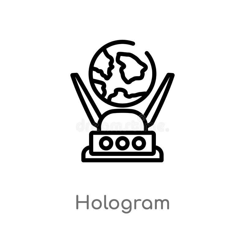 ?cone do vetor do holograma do esbo?o linha simples preta isolada ilustra??o do elemento do conceito futuro da tecnologia Vetor e ilustração stock