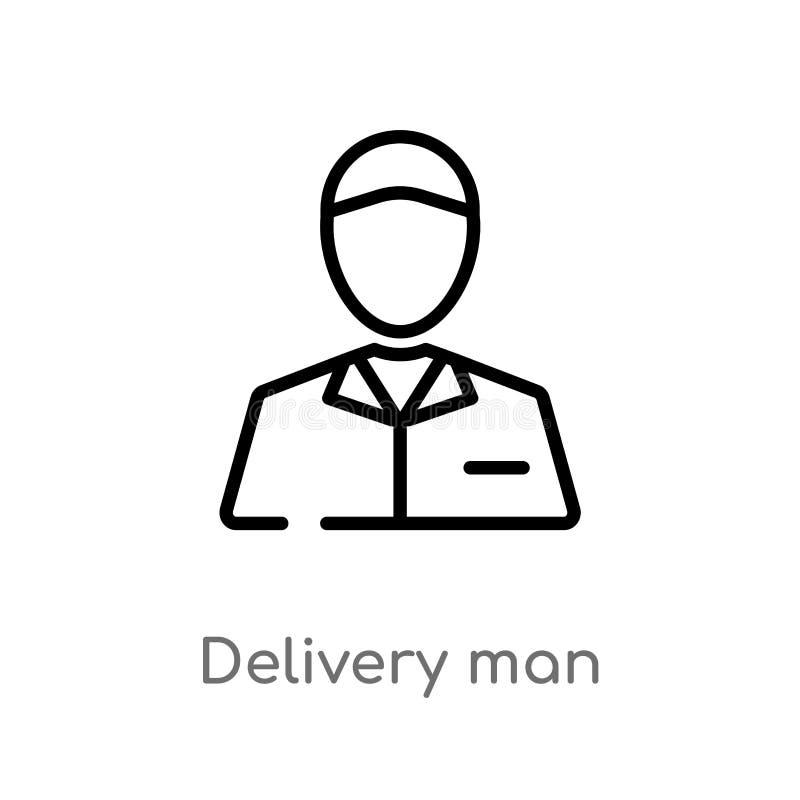 ícone do vetor do homem de entrega do esboço linha simples preta isolada ilustração do elemento da entrega e do conceito logístic ilustração stock