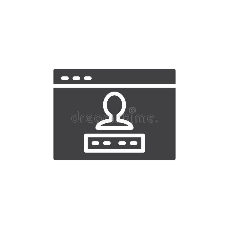 Ícone do vetor do início de uma sessão da conta de utilizador ilustração stock