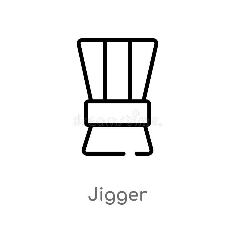 ícone do vetor do jigger do esboço linha simples preta isolada ilustração do elemento do conceito das bebidas jigger editável do  ilustração royalty free
