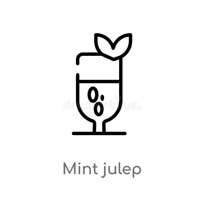 ícone do vetor do julepo de hortelã do esboço linha simples preta isolada ilustração do elemento do conceito das bebidas hortelã  ilustração stock