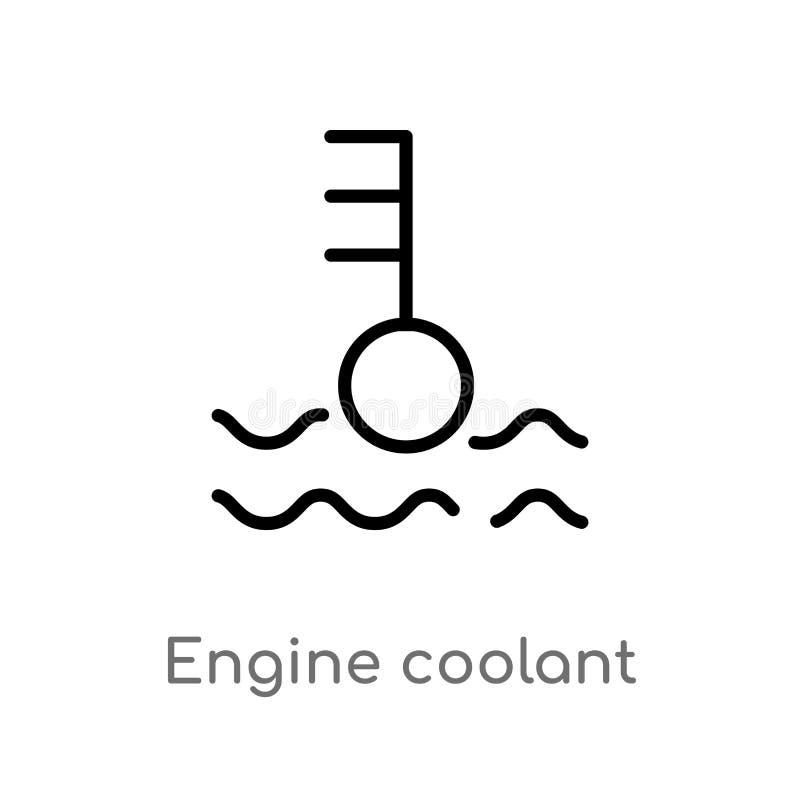 ícone do vetor do líquido refrigerante do motor do esboço linha simples preta isolada ilustração do elemento do conceito das form ilustração stock