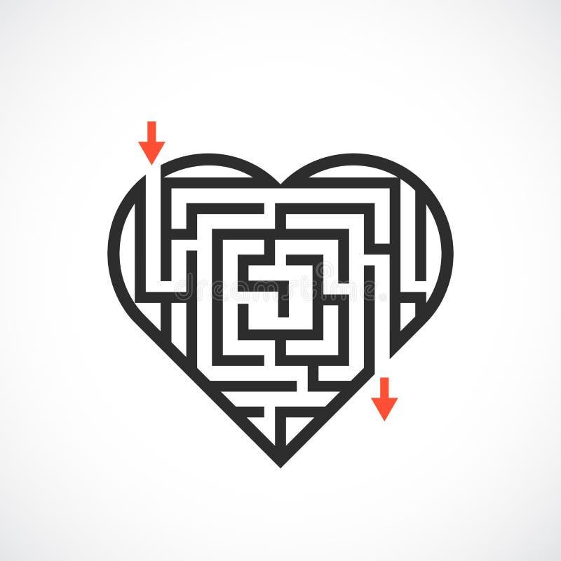 Ícone do vetor do labirinto do coração ilustração royalty free