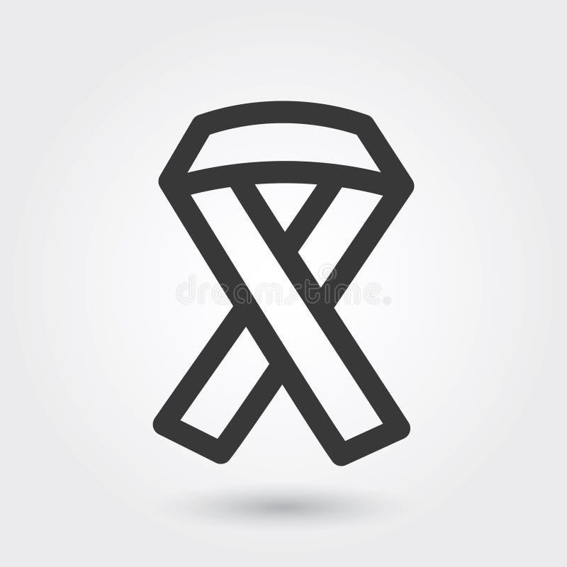 Ícone do vetor, linha médica estilo do ícone da fita do VIH para algumas finalidades, ilustração do vetor
