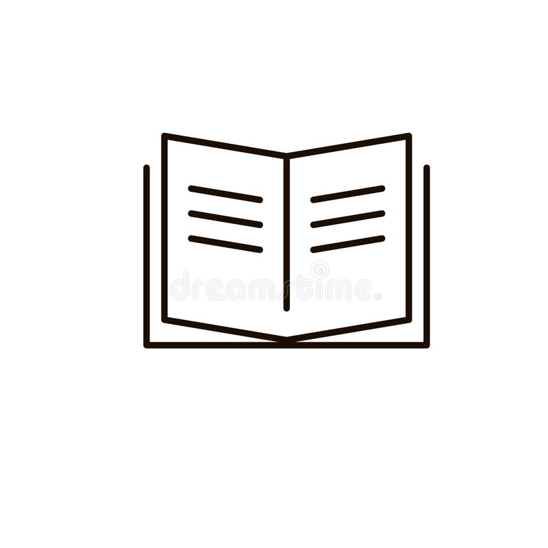 Ícone do vetor do livro, compartimento aberto, linha sinal fino do sinal do dicionário do livro de texto do esboço, projeto liso  ilustração stock