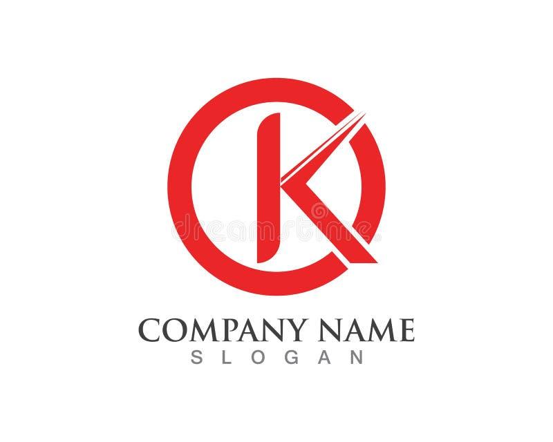Ícone do vetor do logotipo da letra de K ilustração royalty free