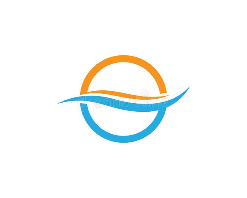 Ícone do vetor do logotipo da onda de água ilustração royalty free