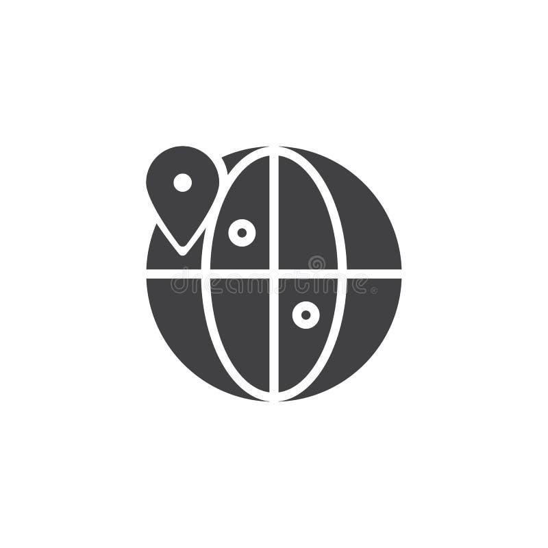 Ícone do vetor do lugar do globo ilustração stock