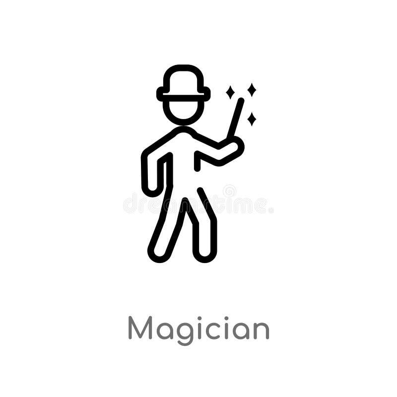 ícone do vetor do mágico do esboço linha simples preta isolada ilustra??o do elemento do conceito das atividades exteriores Vetor ilustração stock