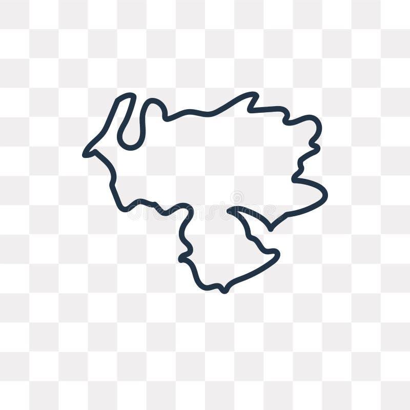 Ícone do vetor do mapa da Venezuela isolado no fundo transparente, li ilustração stock