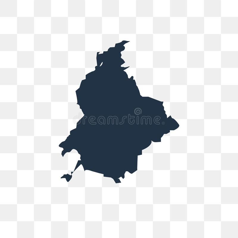 Ícone do vetor do mapa de Colômbia isolado no fundo transparente, colo ilustração stock