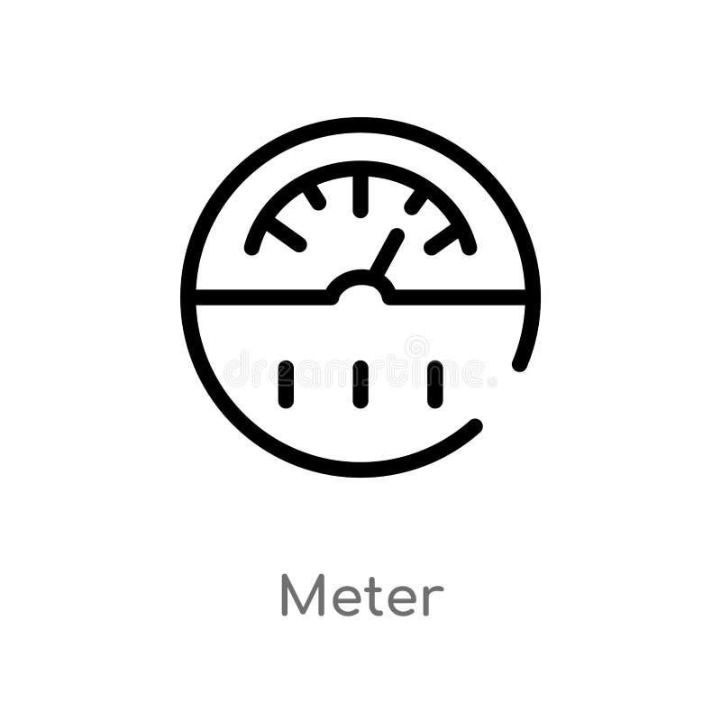 ícone do vetor do medidor do esboço linha simples preta isolada ilustração do elemento do conceito esperto da casa medidor editáv ilustração royalty free