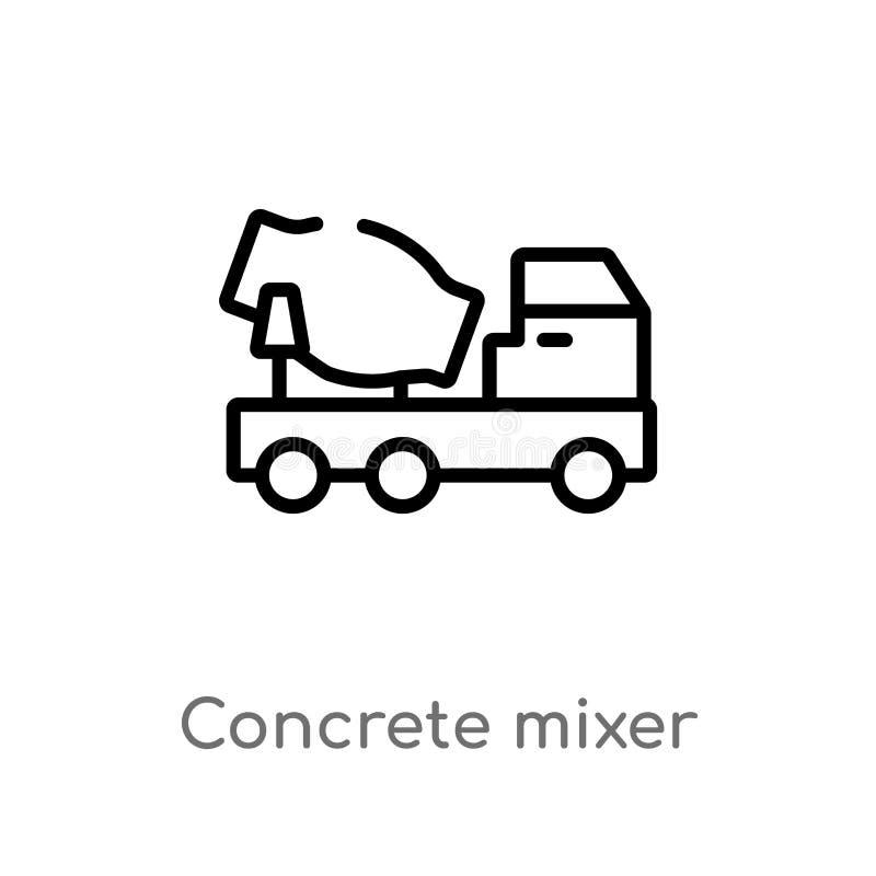 ?cone do vetor do misturador concreto do esbo?o linha simples preta isolada ilustra??o do elemento do conceito das ferramentas da ilustração stock