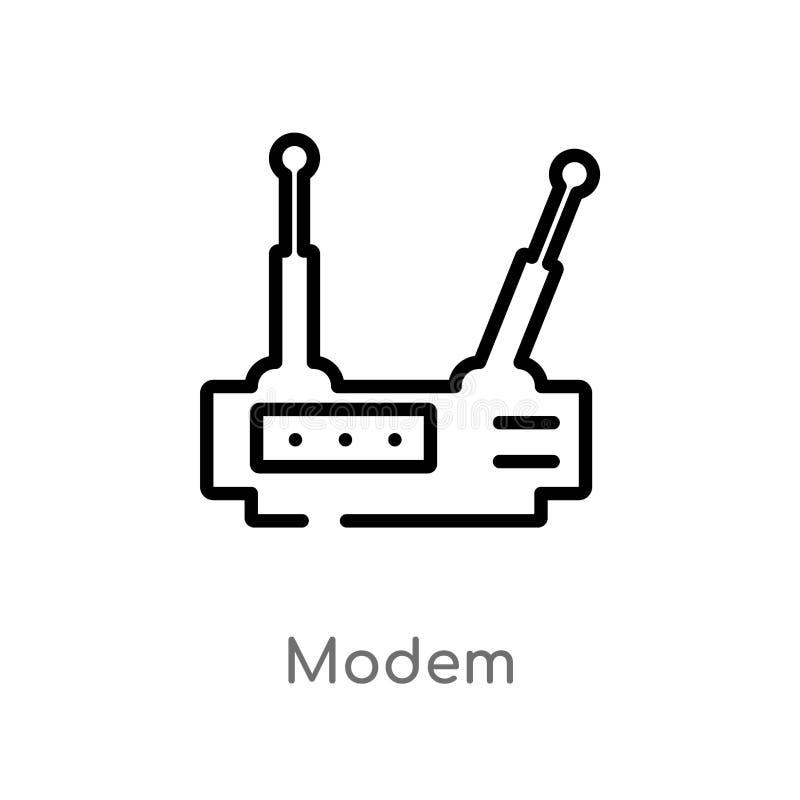 ícone do vetor do modem do esboço linha simples preta isolada ilustração do elemento do conceito de uma comunicação Curso editáve ilustração stock
