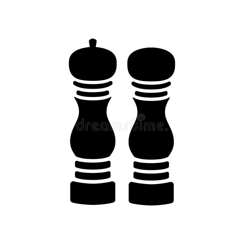 Ícone do vetor do moedor da pimenta e do sal ilustração royalty free