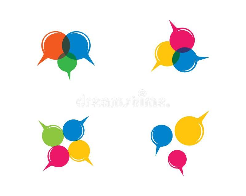 Ícone do vetor do molde do logotipo da bolha do discurso ilustração royalty free