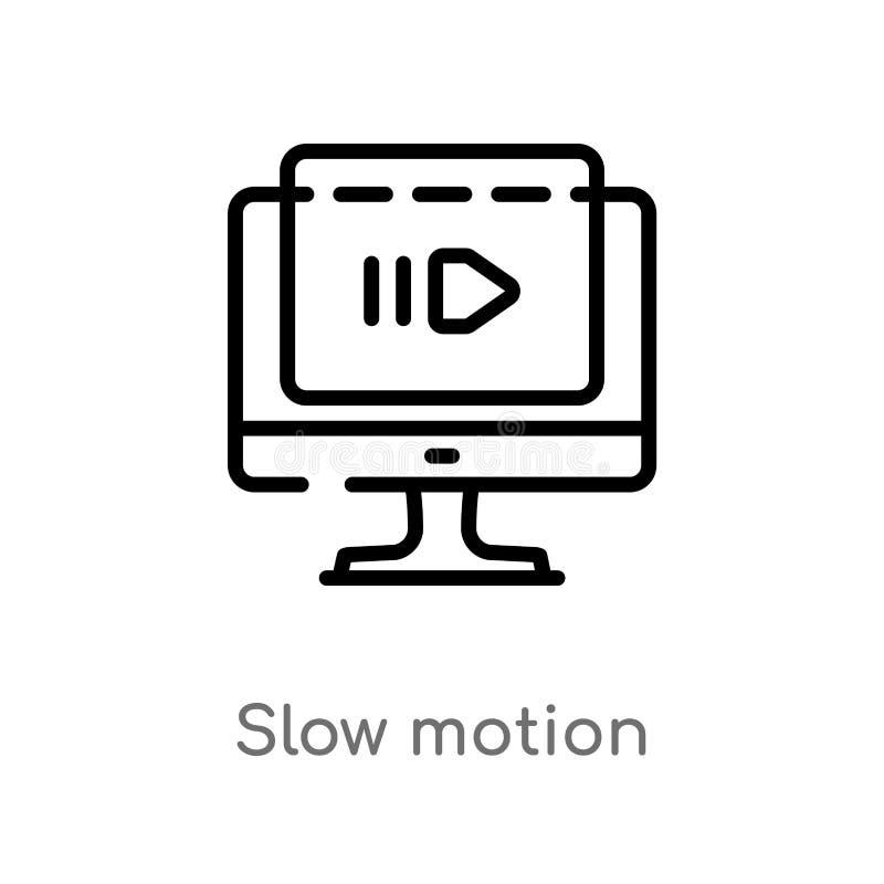 ícone do vetor do movimento lento do esboço linha simples preta isolada ilustração do elemento do conceito do cinema curso editáv ilustração do vetor