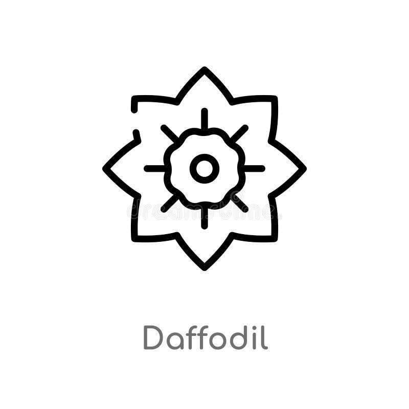 ícone do vetor do narciso amarelo do esboço linha simples preta isolada ilustração do elemento do conceito da natureza narciso am ilustração royalty free