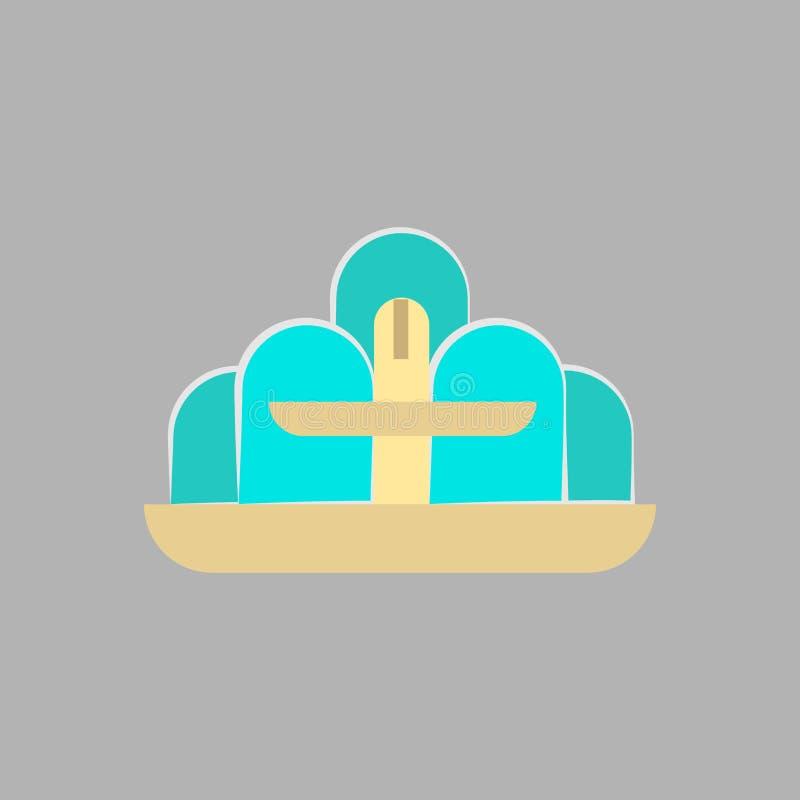 Ícone do vetor do objeto do sinal da arquitetura da fonte Opinião de construção urbana do monumento da água Ilustração antiga do  ilustração royalty free