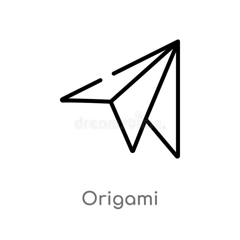 ícone do vetor do origâmi do esboço linha simples preta isolada ilustração do elemento do conceito do tempo livre Curso editável  ilustração do vetor