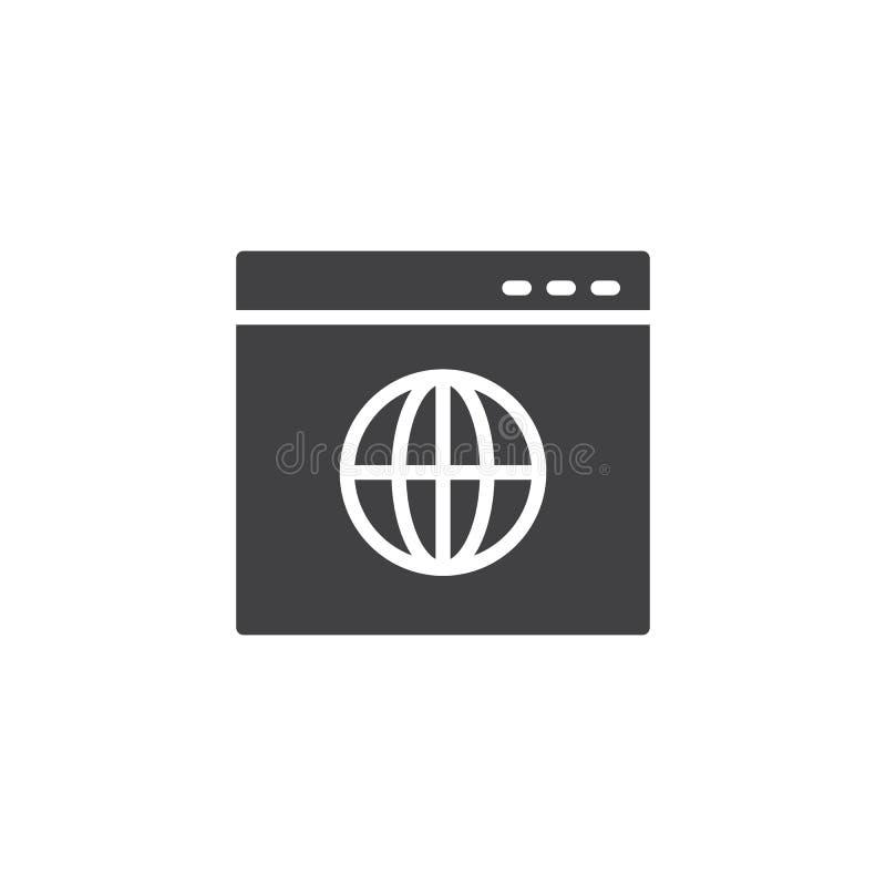 Ícone do vetor do página da web do navegador de Internet ilustração royalty free