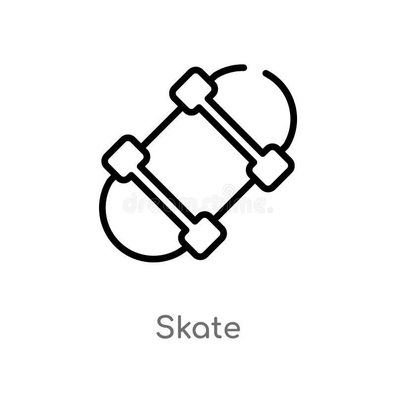 ícone do vetor do patim do esboço linha simples preta isolada ilustração do elemento do conceito do tempo livre patim editável do ilustração stock