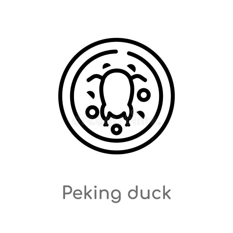 ícone do vetor do pato de peking do esboço linha simples preta isolada ilustra??o do elemento do alimento e do conceito do restau ilustração stock