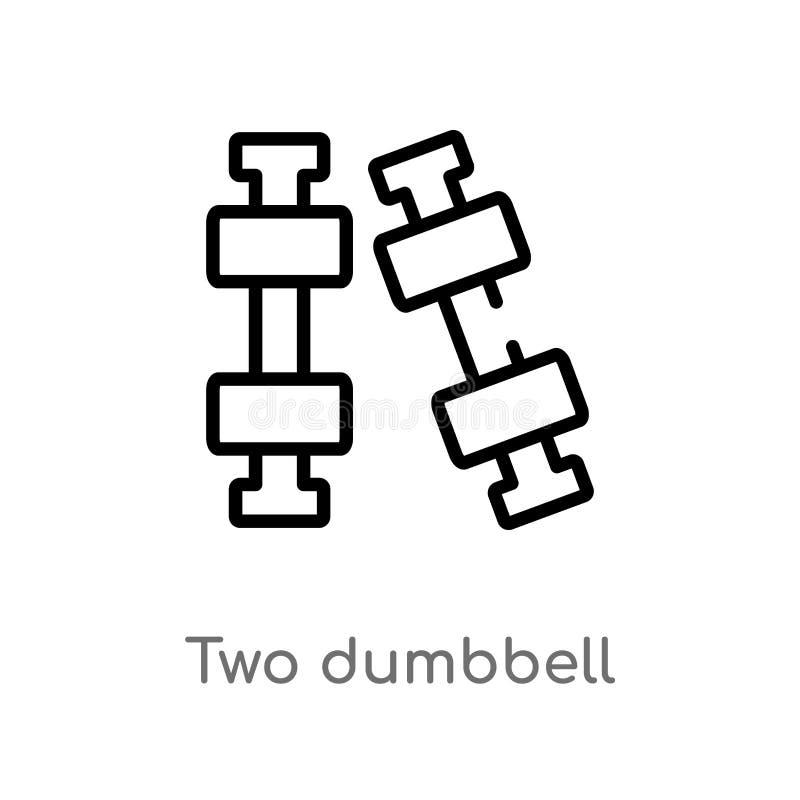 ícone do vetor do peso do esboço dois linha simples preta isolada ilustração do elemento do conceito da medida Curso editável do  ilustração do vetor