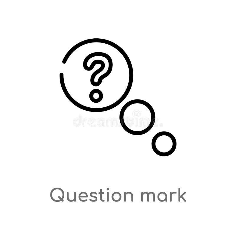 ícone do vetor do ponto de interrogação do esboço linha simples preta isolada ilustração do elemento do conceito da interface de  ilustração royalty free