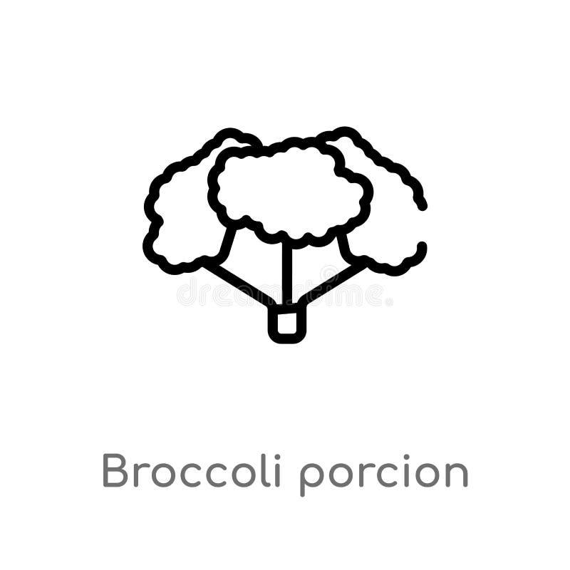 ícone do vetor do porcion dos brócolis do esboço linha simples preta isolada ilustração do elemento do gym e do conceito da aptid ilustração do vetor