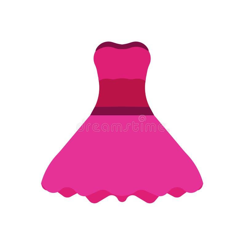 Ícone do vetor do projeto da forma do vestido da mulher Arte cor-de-rosa elegante da menina da roupa O verão romântico isolado ve ilustração stock