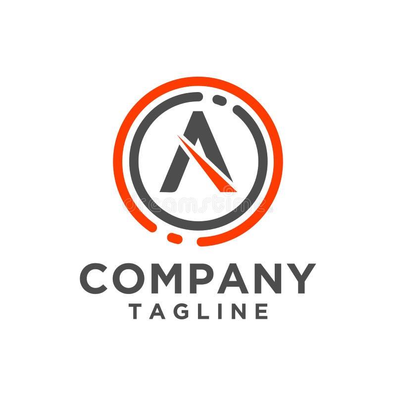 Ícone do vetor do projeto do logotipo da letra com linha do círculo Estilo minimalista ilustração royalty free