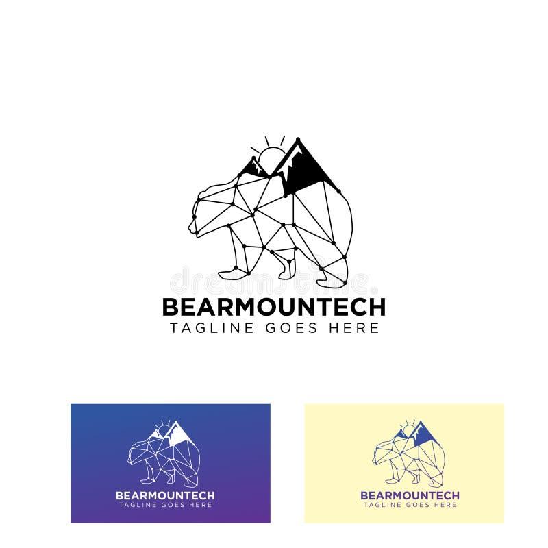 ícone do vetor do projeto do logotipo da montanha do urso ou ilustração de conexão do símbolo ilustração do vetor
