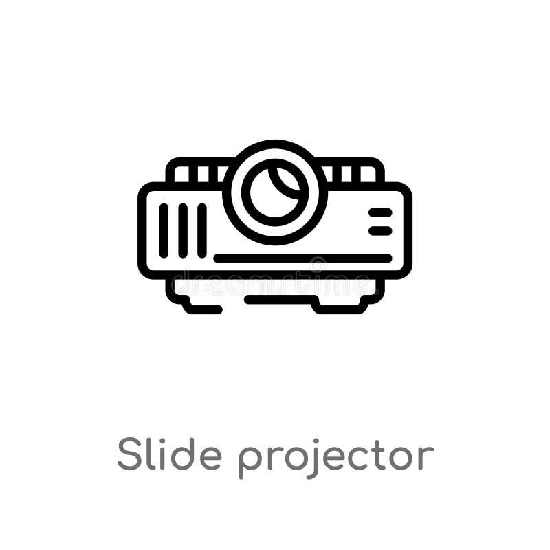 ícone do vetor do projetor de slides do esboço linha simples preta isolada ilustração do elemento do conceito do cinema Curso edi ilustração stock