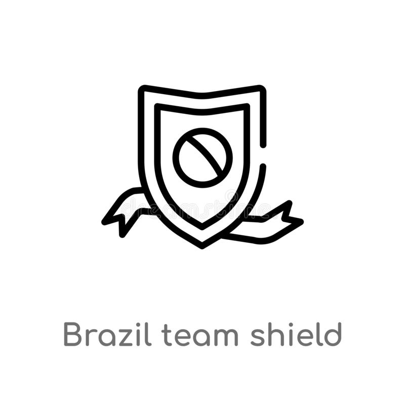ícone do vetor do protetor da equipe de Brasil do esboço linha simples preta isolada ilustração do elemento do conceito da cultur ilustração do vetor