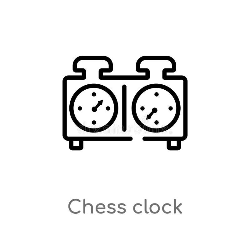 ?cone do vetor do pulso de disparo da xadrez do esbo?o linha simples preta isolada ilustra??o do elemento do conceito dos recurso ilustração stock