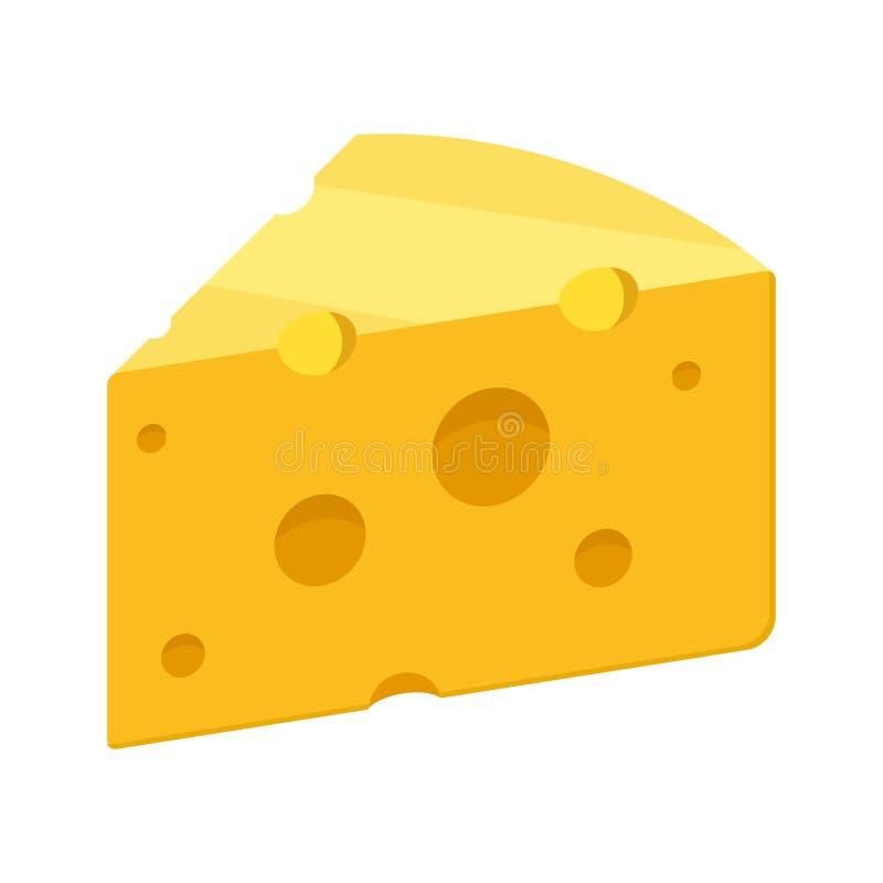 Ícone do vetor do queijo isolado no fundo branco Alimento de leite amarelo do queijo Cheddar Símbolo do café da manhã ou do petis ilustração do vetor