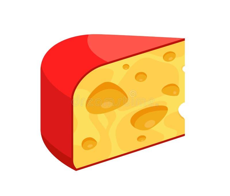 Ícone do vetor do queijo - parte do triângulo da ilustração do produto do diário isolada no branco ilustração royalty free