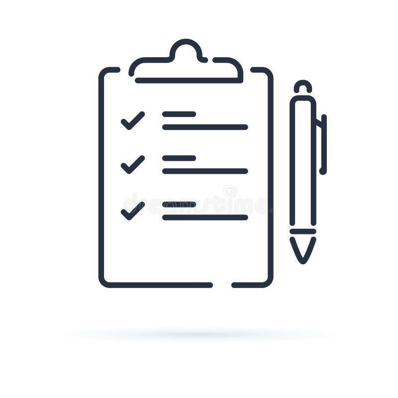 Ícone do vetor do questionário isolado no fundo branco Contrato com uma ilustração da pena Agenda ou acordo do negócio ilustração stock
