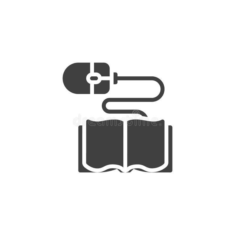 Ícone do vetor do rato do livro e do computador ilustração royalty free
