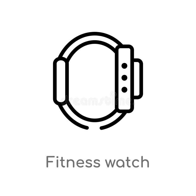 ícone do vetor do relógio da aptidão do esboço linha simples preta isolada ilustração do elemento do gym e do conceito da aptidão ilustração do vetor