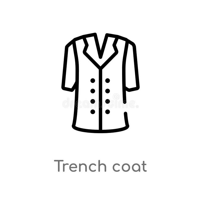 ícone do vetor do revestimento de trincheira do esboço linha simples preta isolada ilustra??o do elemento do conceito da roupa Cu ilustração stock