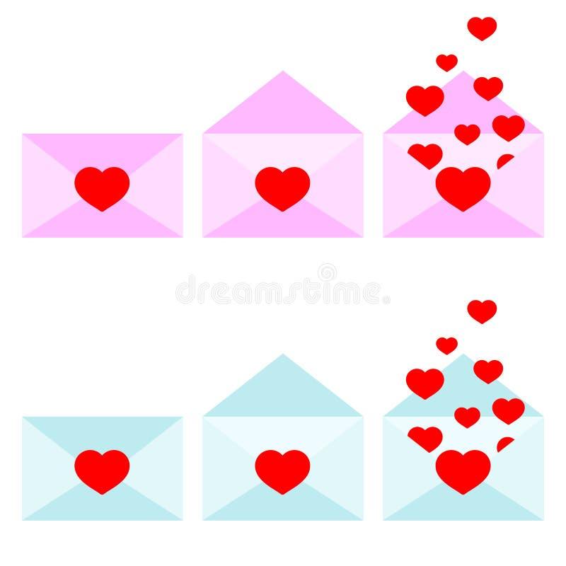Ícone do vetor do rosa e do grupo aberto e fechado romântico azul dos envelopes ilustração stock