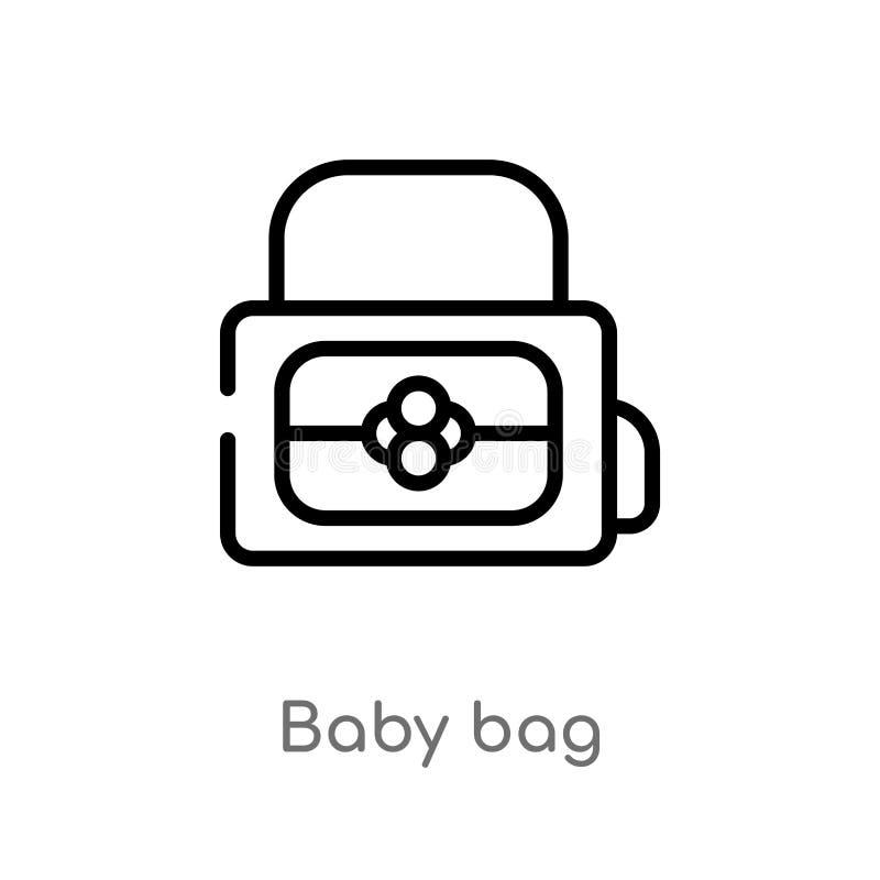 ícone do vetor do saco do bebê do esboço linha simples preta isolada ilustração do elemento do conceito do curso saco editável do ilustração stock